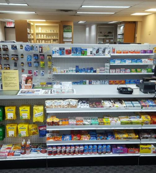 a shelf of medicine